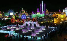 O 31º Festival de Gelo e Neve em Harbin, na província de Heilongjiang no nordeste da China, teve início nesta semana e vai até o final de fevereiro.  Foto: Kim Kiung/Hoom