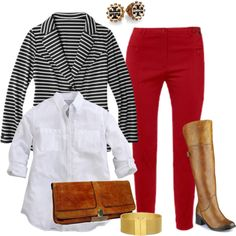 Last updated on September 2016 at am Red corduroy pants are a girly and beautiful garment. Create a super navy look with a white classic shirt, a striped blazer in black and white and flat leather boots in… Continue Reading → Fall Outfits, Cute Outfits, Fashion Outfits, Womens Fashion, Fashion Ideas, Work Outfits, Curvy Fashion, Plus Size Fashion, Plus Size Fall