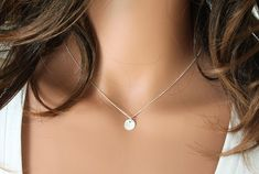 Silver Dot Necklace Simple Necklace Sterling by crystalglowdesign, $23.50