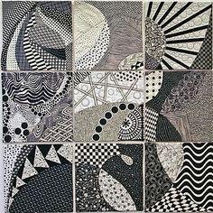 Sandra Harrington, Pat Dicker and Loretta Armstrong, quilt inspired by Zentangles Quilting Projects, Quilting Designs, Quilting Ideas, Art Quilting, Quilt Art, Black And White Quilts, Black White, Textile Fiber Art, Fibre Art