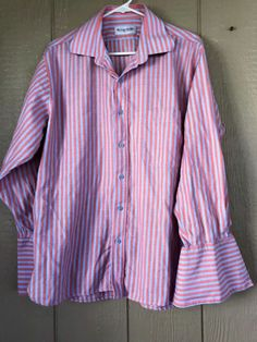 Emanuel Ungaro Men's Shirt Button Down Herringbone Pattern French Cuff 17 32/33 #EmanuelUngaro #ButtonFront