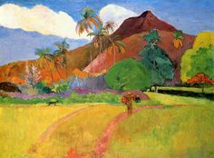 Tahitian mountains, 1893 by Paul Gauguin, 1st Tahiti period. Cloisonnism. landscape