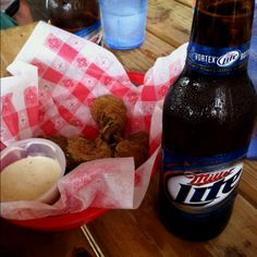 Fried pickles, Miller Lite, and Packers football.