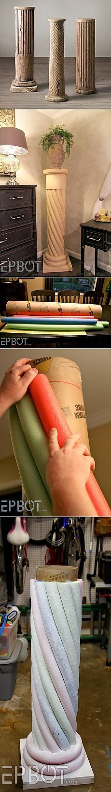 "EPBOT: Make Your Own ""Stone"" Decorative Column... With Pool Noodles! /Колонны под цветы"