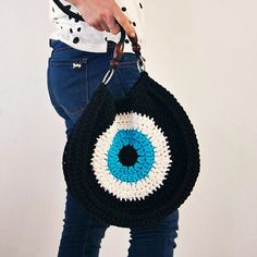 Crocheted evil eye bag, Black Handbag, Greek Eye Handbag
