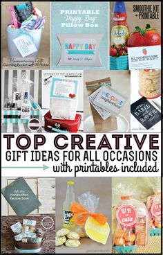 Top Gift Ideas featuring Printables - so many fun ideas in one spot.  Use these printables for birthdays, neighbor gifts, holidays and more!