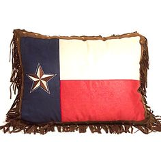 Texas Flag Throw Pillow with Fringe