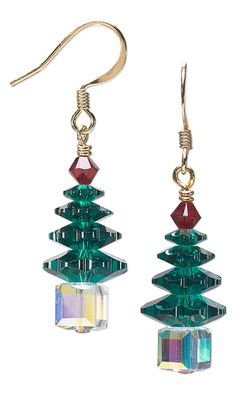 Christmas Tree Earrings with SWAROVSKI ELEMENTS by Jamie Smedley. #christmasjewelry