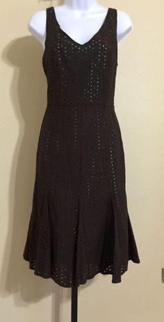 Gabriella Skye Women's Brown Eyelet Dress With Blue Lining Size 8 NWT #GabriellaSkye #Shift #Casual
