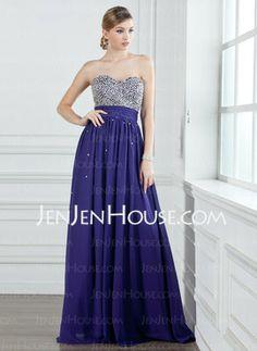A-Line/Princess Sweetheart Floor-Length Chiffon Charmeuse Prom Dresses With Ruffle Beading (018004908) - JenJenHouse en