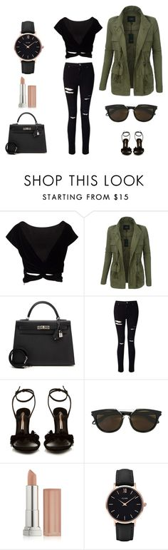 """""""Daily Wear, Set 12"""" by lividlily ❤ liked on Polyvore featuring LE3NO, Hermès, Miss Selfridge, Sophia Webster, Givenchy, Maybelline and CLUSE"""