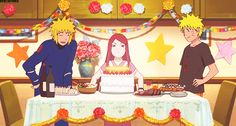 #birthday #naruto #uzumaki #laugh #cake #candles #kushina #minato #namikaze #minakushi #yellow #flash #fourth #hokage