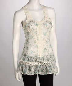 Another great find on #zulily! Green Floral Lace Tank by Ruby Rose #zulilyfinds
