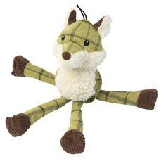 Tweed long legs fox dog toy