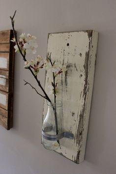 Shabby chic wall vases. Glass bottle wall vases. Rustic wall decor. Shabby chic wall decor. by PrettyandRustic on Etsy https://www.etsy.com/listing/214753015/shabby-chic-wall-vases-glass-bottle-wall