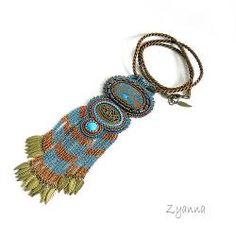naszyjnik,wisior,azuryt,turkus,mosiądz - Naszyjniki - Biżuteria