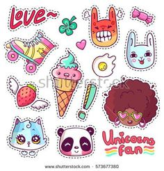 Colorful vector patch badges with animals, characters and things. Hand-drawn stickers, pins in cartoon 80s-90s comics style. Set with african woman, angry bunny, adorable kitten, etc. Part 13