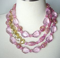 Pink Crystal Quartz Chunky Multistrand Statement Necklace, Semiprecious Gemstone, Lampwork, Statement Jewellry
