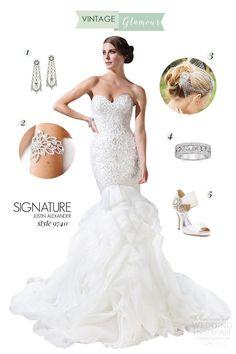 Bridal Style Inspiration: Vintage Glamour — featuring #wedding dress by Justin Alexander | Wedding Inspirasi #weddings #inspiration #style #style board #weddingdress #weddinggown