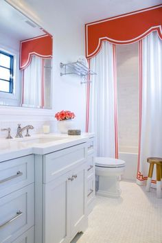 Get inspired by Traditional Bathroom Design photo by AGK Design Studio. Wayfair lets you find the designer products in the photo and get ideas from thousands of other Traditional Bathroom Design photos. Shower Curtain With Valance, Custom Shower Curtains, Curtain Pelmet, Custom Valances, Window Valances, Bathroom Curtains, Bathroom Kids, Small Bathroom, White Bathroom