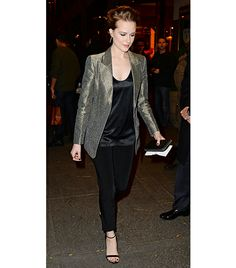 @Who What Wear - Evan Rachel Wood Tip: Metallic Blazer + All Black Separates  Get The Look: Cameo Chances Are Metallic Blazer ($192);La Perla Dolce Sleeveless Silk Tank ($108); Express Studio Slim Leg Editor Pant ($42)