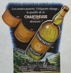 Chartreuse liqueur ad (1956) showing labels in 1852, 1951, and 1956 (with major new label type)