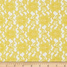Raschelle Lace Yellow from @fabricdotcom  Delicate and classic, this sheer lace has no significant stretch and a pearlized sheen. This lace fabric appropriate for lingerie, overlays on skirts or dresses, feminine apparel accents, wraps or shrugs, and even home decor accents.