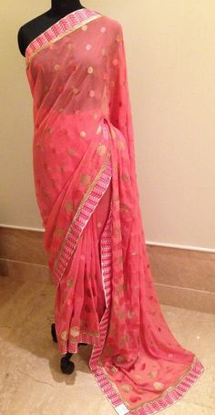 Georgette saree. For orders and inquiries, please mail us at naari@aninditacreations.com.  Like our page www.facebook.com/naari.aninditacreations