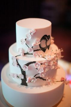 Tiered cherry blossoms wedding cake with painted lovebirds #sakura // Top 10 Wedding Cake Creators in Malaysia - Part 1