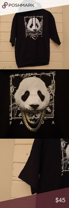 NWOT black cutoff  sleeves panda hoodie 21 inches armpit to armpit. 26 inches long. Panda with chains, pocket in front. Tops Sweatshirts & Hoodies
