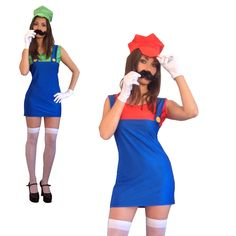 Mario And Luigi Fancy Dress, Halloween Fancy Dress, Halloween Costumes, Fancy Dress Womens, Free Delivery, Lady, Outfits, Shopping, Dresses