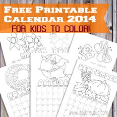 Free Printable Calendar for Kids (monthly 2014) to color.
