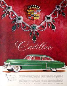 Publicité originale à Cadillac 1950  Une magnifique vert Cadillac sedan (peut-être le modèle 7 passagers) brille dans un contexte de soie marron, couronné d'un collier d'émeraude par Harry Winston.  Publié en mars 1950, ce millésime Cadillac publicité page mesures 10,5 x 13.5. Les détails sont merveilleux. Il est en excellent état avec les trous discontinues sur la gauche.  Vous pouvez voir faiblement imprimé de l'autre côté dans la zone inférieure blanc - facile à cacher avec du papier…