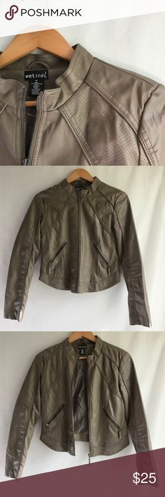Brown faux leather jacket Size medium brown jacket from Wet Seal. Will provide measurements if needed :) Wet Seal Jackets & Coats