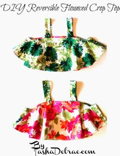 DIY Reversible Flounced Crop Top Instructions It's such a simple pattern!