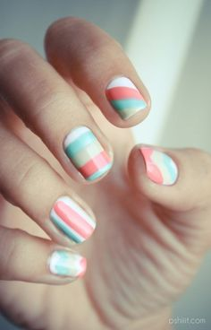stripes. I would probably do one of the solid colours on a few nails... This is a bit much.