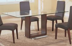 Simple Dining Table Furniture Design With Unique U Shaped Brown Wood Legs On The White Rectangle Shaped Wood Base Also Modern Rectangle Shaped Glass Materials Legs Outstanding Glass Top And Wood Base Dining Table Designs Furniture