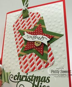 Stampin Up Christmas card with scalloped tag topper punch and star framelits by Patty Bennett