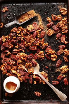 Sweet and spicy roasted candied nuts made in 15 minutes on 1 pan! No bowl required. So flavorful, crunchy, and delicious. Great for holiday snacks or gifts. Baker Recipes, Nut Recipes, Cooking Recipes, Snack Recipes, Vegan Snacks, Healthy Snacks, Healthy Recipes, Vegan Sweets, Healthy Eating