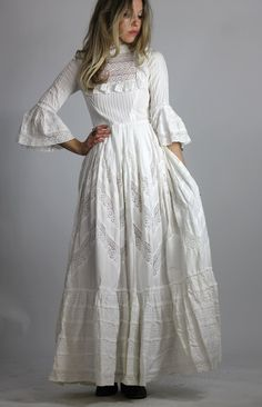 Vintage 60s Mexican Wedding Dress White Victorian Style Maxi Gown Bell Sleeve