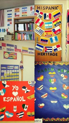Flags of Spanish-Speaking Countries:  flags, labeled flags, banners, and hearts
