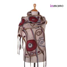 nuno felted scarf, Art Nouveau - silk and wool nuno felted scarf, felted eco shawl, felted wool scarf wrap art nunofelt shawl by inmano on Etsy, $113.00