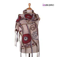 nuno felted scarf, Art Nouveau - silk and wool nuno felted scarf, felted eco shawl, felted wool scarf wrap art nunofelt shawl by inmano on Etsy, $113.00