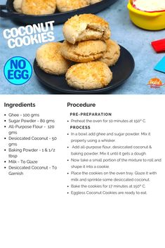 Eggless Coconut Cookies in an OTG | Tasted Recipes Snacks Recipes, Baking Recipes, Cookie Recipes, Vegan Recipes, No Bake Cookies, Cookies Et Biscuits, Coconut Chocolate Chip Cookies, Cook N, Choco Chips