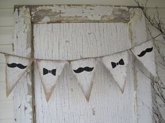 Mustache and Bowties Burlap Banner by funkyshique on Etsy