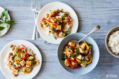 A big bowlful of sticky-sweet rice, crispy tofu, and colorful veggies, all with a spicy kick—this stir-fry is so much better than takeout.