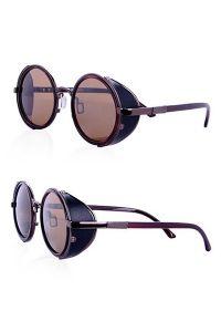 Steampunk Brille mit seitlichem Blendschutz - brown-black
