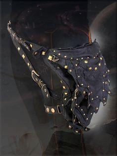 Cyber steampunk post apocalyptic pagan fashion rivet hip utility pocket belt,