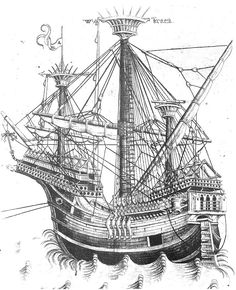 One of the most detailed drawings of a carrack dating to 1475 - 1500