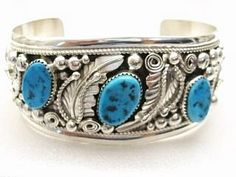 Silver Tooled Cuff Bracelet with Kingman Turquoise (mined in Kingman Arizona).  The finest quality turquoise today comes from the United States, the largest producer of turquoise.  Turquoise also naturally occurs in Northern Africa, Australia, Siberia, China and Europe.  -  treasuresofthesouthwest.com